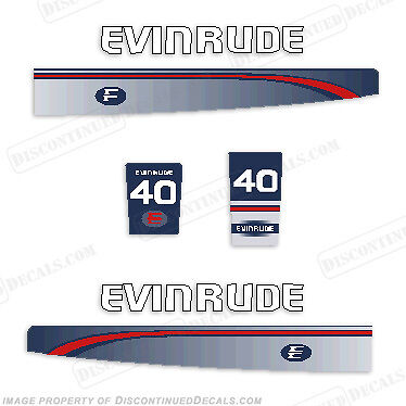 Evinrude 1995 - 1997 40 Hp Decal Kit - Discontinued Decal Reproductions In Stock