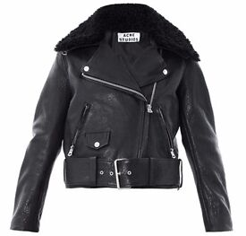 ACNE STUDIOS Mape Leather Jacket Biker Shearling UK 8 NEVER WORN RRP £1,300