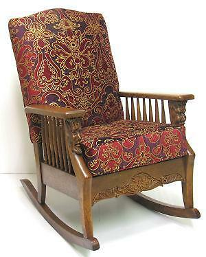 antique oak rocking chair ebay. Black Bedroom Furniture Sets. Home Design Ideas