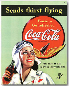 Coca-Cola Sends Thirst Flying Tin Sign