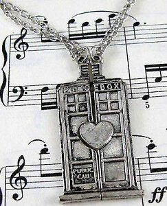 Doctor Who Tardis Phone Booth Heart Couples Pendant Necklace Set