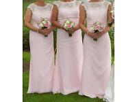 True Bride Ivory Lace & New Pink Bridesmaids Dresses X3