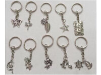 Job lot 10 keyrings, Tibetan silver charms, excellent wedding favours