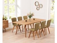 Modern 150cm Ext oak table with 8 chairs