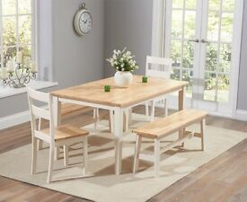 Oak and Cream Dining Set with Benches and Chairs