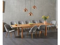 Modern oak 180cm extendable table and 8 chairs