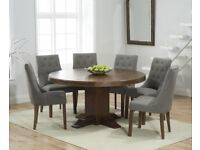 Dark solid oak round 150cm table and 6/8 chairs