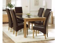 Modern 150cm oak&glass table and chairs