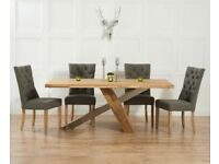 Modern 180cm oak table and 6 chairs