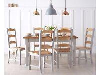 Modern 150cm pine ash & grey table & 4 chair