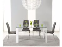 Modern 150cm glass table and 4 chairs