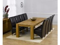 Modern 240cm solid oak table & 8 chairs