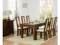 Dark solid oak 180-270cm table and 8/10 chairs