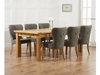 Modern 180cm Ext solid oak table & 6 chairs