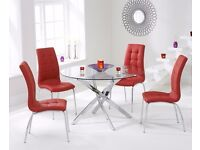 Modern 120cm round glass table & 4 chairs