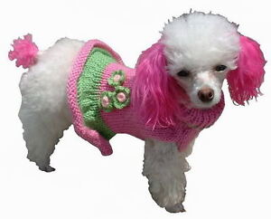 Dog Clothes Sweater Girlie Girl Pink Green XXS THRU XL Chihuahua