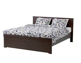 Brusali Dark Wood Double Bed Frame, with 2 Storage Boxes