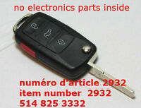 New 4 Buttons Uncut Flip Remote FOB Blank Key Shell Case For VW