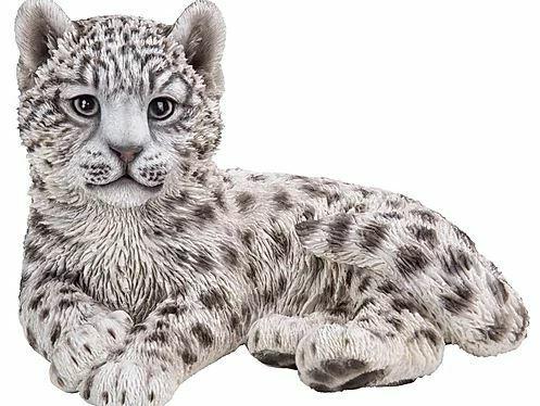 "10"" SNOW LEOPARD CUB FIGURINE  STATUE LIFELIKE COLLECTIBLE ANIMAL HOME DECOR"