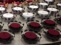 """White round table cloths, 120"""" diameter to fit 5ft round table and to drape to the floor"""