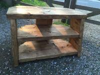 Rustic pine corner TV unit
