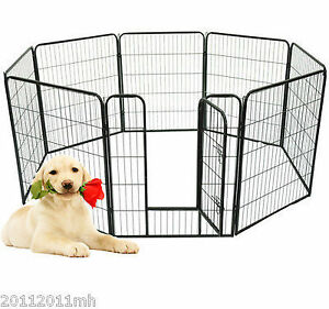 "39""H Dog Playpen Fence 8 Panel Heavy Duty Pet Puppy Exercise Pen"