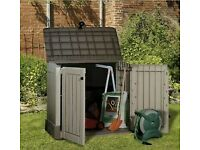 Keter Store It Out Storage Box NEW Garden Patio Bin Chest Weatherproof Lockable Plastic Wood