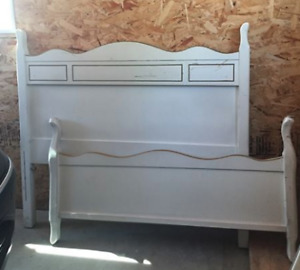 antique wood twin headboard and footboard