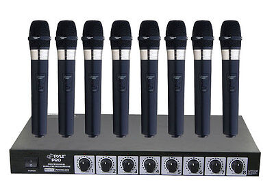 New Pyle PDWM8400 8 Mic Professional Handheld VHF Wireless Microphone System