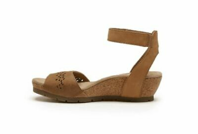 Earth Origins Leather Wedges with Ankle Strap Kendra Krystal Suntan - NEW Ankle Strap Leather Wedges