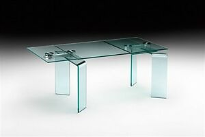 TABLE EN VERRE A RALLONGES