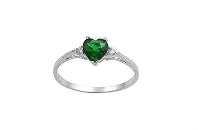 (Sterling Silver Heart Promise Ring Emerald Green CZ Sizes 3-10)