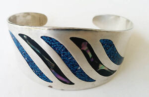 Silver Bracelet Stamped 92.5 with Turquoise stones Inlays