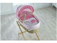 Kinder valley Elliot Elephant Moses Basket. Pink. & Free opal Folding stand. Brand new 5 plc left