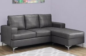 SECTIONNEL - BONDED GRAY LEATHER