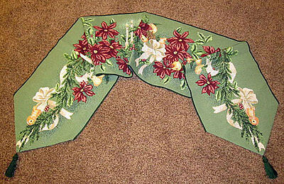 Floral Spruce ~ Christmas Poinsettias Tapestry Table Runner