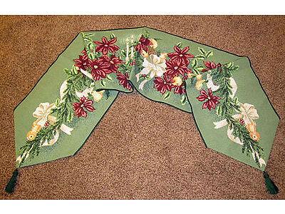 Floral Spruce ~ Christmas Poinsettias Tapestry Table Runner