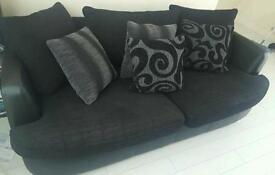 black leather/fabric sofas