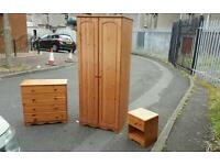 Pine set - wardrobe - chest and locker for £125 delivered