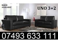 UNO 3+2 LEATHER SOFA COUCH BLACK BROWN