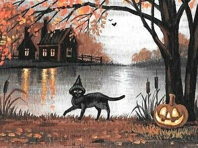 1.5x2 DOLLHOUSE MINIATURE PRINT OF PAINTING RYTA 1:12 SCALE HALLOWEEN BLACK CAT ](Halloween Scales)