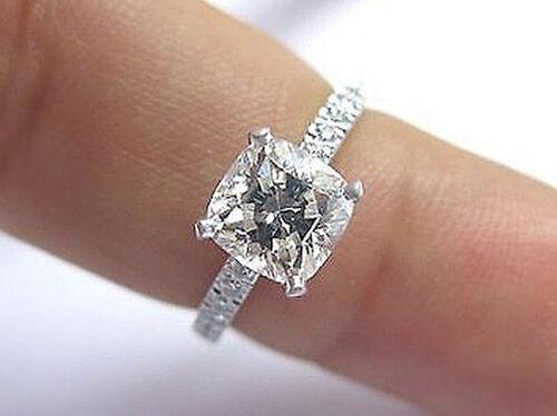 1.40 Ct Cushion Cut Diamond Engagement Ring F, VS1 GIA18K WG Very Clean