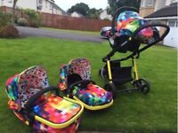 Bright, colourful Cosatto 3in1 travel system - buggy, carrycot, car seat