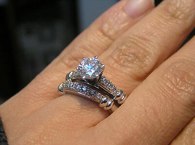 2.10 Ct. Natural Round Cut Pave Diamond Engagement Bridal Set - GIA Certified
