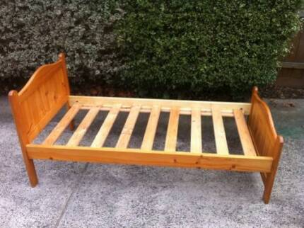 Wooden Single bed (frame + Mattress) Burwood Whitehorse Area Preview