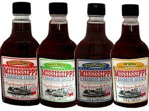 4 x Mississippi  BBQ Sauce,Grillsauce,Sweet´n Spicy,Sweet Apple,Sweet´n Mild,Set