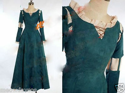 Princess Merida Dress Brave Adult Women Halloween Cosplay Costume Custom Made