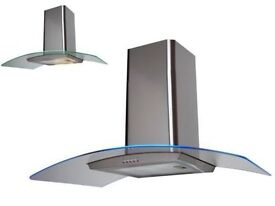 New 90cm Curved Glass LED Edge Light Extractor Fan In Stainless Steel ( graded )