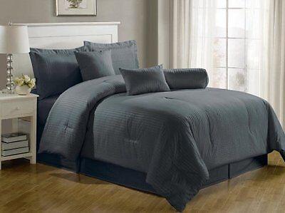 Chezmoi Collection 7 Piece Hotel Dobby Stripe Comforter Set  California King  Gr