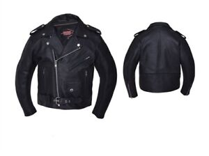 Kids  Classic Motorcycle Jacket - Black Leather - 12 - Boys Biker Coat - Childs